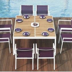 Outdoor Dining Furniture - The Allux Collection from Mamagreen™ features dining chairs with Batyline® mesh fabric upholstery and an dining table with a teak wood table top.