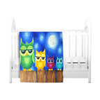 DiaNoche Designs - Throw Blanket Fleece - Owls on a Fence Blue - Original artwork printed to an ultra soft fleece blanket for a unique look and feel of your living room couch or bedroom space. Dianoche Designs uses images from artists all over the world to create llluminated art, canvas art, sheets, pillows, duvets, blankets and many other items that you can print to. Every purchase supports an artist!