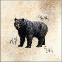 The Tile Mural Store (USA) - Tile Mural - Black Bear  - Kitchen Backsplash Ideas - This beautiful artwork by Judy Gibson has been digitally reproduced for tiles and depicts a bear.    A bear tile mural would be perfect as a part of your kitchen backsplash tile project or your tub and shower surround bathroom tile project. Bear images on tile make a great kitchen backsplash idea and are excellent to use in the bathroom too for your shower tile project. Consider a tile mural with bear pictures for any room in your home where you want to add wall tile with interest.