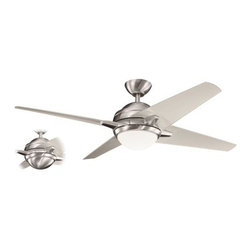 "Kichler - 52"" Rivetta 52"" Ceiling Fan Brushed Stainless Steel - Kichler 52"" Rivetta Model 300133BSS in Brushed Stainless Steel with Clear Champagne Acrylic Finished Blades."