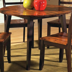 Steve Silver Co. - Abaco Round Drop Leaf Table w Acacia Finish - Tapered legs. Uniquely finished top. Multi-step acacia finish. Contemporary style. Corner block construction. Tongue and groove joints. Select hardwood solids material. Some assembly required. Solid wood construction. 42 in. L x 42 in. W x 30 in. H (48.5 lbs.)