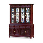 China Furniture and Arts - 60in Rosewood Flower & Bird Motif China Cabinet - A grand curio cabinet to display your treasured collectibles. Hand-carved flower & bird motif which symbolize happiness and good luck in Chinese culture decorated the entire cabinet. Made of solid rosewood with traditional joinery techniques for long lasting durability by artisans in China. Mirror, halogen lights, and adjustable shelves for the upper cabinet. Two big cabinets with removable shelf inside and four drawers in the lower portion providing ample storage space for your convenience. Hand applied classic cherry finish enhances the extraordinary beauty and opulence of solid rosewood.