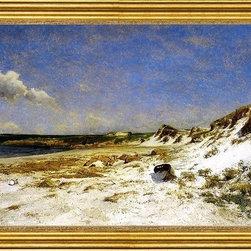 "William Lamb Picknell-16""x24"" Framed Canvas - 16"" x 24"" William Lamb Picknell Wingaersheek Creek Beach, Gloucester, Massachusetts framed premium canvas print reproduced to meet museum quality standards. Our museum quality canvas prints are produced using high-precision print technology for a more accurate reproduction printed on high quality canvas with fade-resistant, archival inks. Our progressive business model allows us to offer works of art to you at the best wholesale pricing, significantly less than art gallery prices, affordable to all. This artwork is hand stretched onto wooden stretcher bars, then mounted into our 3"" wide gold finish frame with black panel by one of our expert framers. Our framed canvas print comes with hardware, ready to hang on your wall.  We present a comprehensive collection of exceptional canvas art reproductions by William Lamb Picknell."