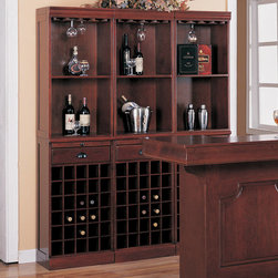 Coaster - Wine Wall Bar Unit in Cherry - Great for a wine aficionado, this wall unit includes storage for 30 bottles. The warm Cherry finished wine cabinet offers additional storage with one drawer to keep clutter hidden, one pull out trays for extra work surface when you need it, two shelves to show off wine and other bar equipment, and stemware hanging racks along the top for your wine glass collection. With clean lines and classic molding, this traditional style bar wall unit will help you complete your sophisticated entertainment room. Use one alone or bunch several together for an entire wall!