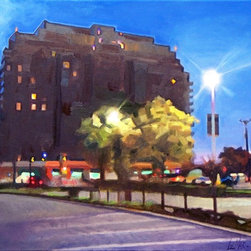 """""""Highrise"""" Artwork - Highrise at dawn from shopping center parking lot."""