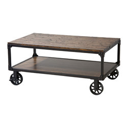 None - Holly Industrial Cocktail Cart Table with Natural Wood Top - The Holly cart table features a bottom storage shelf that can be used for books and magazines. Fashionable industrial casters and riveted corner brackets add a repurposed vibe to the wood and metal piece finished in antique brown.