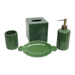 None - Emerald Crackle Porcelain Bath Accessory 4-piece Set - This charming bath accessory set in an emerald crackle finish will add a pop of color to any bathroom setting. This set includes a tissue box,soap dish,lotion dispenser and tumbler.