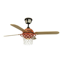 Craftmade - Craftmade ProStar Basketball Ceiling Fan in Black Canopy w/Orange Basketball - Craftmade ProStar Basketball Model CF-PS52BB4 in Black Canopy w/Orange Basketball with ProStar Gym Floor Finished Blades.