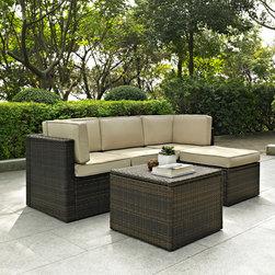 Crosley - Crosley Palm Harbor 5 Piece Outdoor Wicker Seating Set -