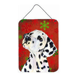 Caroline's Treasures - Dalmatian Red Snowflakes Holiday Christmas Aluminium Metal Wall Or Door Print - Great for inside or outside these Aluminum prints will add a special touch to your kitchen, bath, front door, outdoor patio or any special place.  12 inches by 16 inches and full of color.  This item will take direct sun for a while before it starts to fade.  Rust and Fade resistant.  Aluminum Print with Hanging Rope.  Rounded Corners.