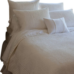 Taylor Linens - Grace Egg-Shell White Throw - This timeless quilt is sweet, supple and soft as a cloud. Hand stitching gives the cotton fabric its noteworthy texture, while ribbed edges provide a stylish drape that always looks good. Whether you mix it with patterns and colors, or go all white, this machine-washable throw makes a lasting impression.