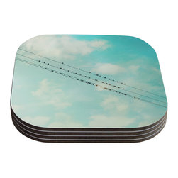 "Kess InHouse - Sylvia Cook ""Birds on Wires"" Teal Sky Coasters (Set of 4) - Now you can drink in style with this KESS InHouse coaster set. This set of 4 coasters are made from a durable compressed wood material to endure daily use with a printed gloss seal that protects the artwork so you don't have to worry about your drink sweating and ruining the art. Give your guests something to ooo and ahhh over every time they pick up their drink. Perfect for gifts, weddings, showers, birthdays and just around the house, these KESS InHouse coasters will be the talk of any and all cocktail parties you throw."