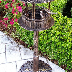 Oakland Living - Bird House with Sun God Roof & Perched Birds - Cast aluminum bowl and cast Iron base. Easy assembly and sturdy construction. Stainless steel and brass hardware. Cast aluminum and cast iron construction. Antique Bronze finish. 22 in. D x 24 in. W x 22 in. H (30 lbs.)