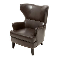 Great Deal Furniture - Romford Bonded Leather Wingback Club Chair, Brown - The Romford Wingback Leather Club Chair is a great piece for any room in your home. This armchair is a contemporary piece that features a high wingback backrest and padded cushion. Nailhead line the perimeter of the chair for an innovative and classic look, making it the perfect accent piece to compliment most modern and contemporary living room, bedroom or office furniture.