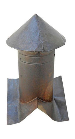Pre-owned Early 20th Century Barn Vent Cupola - This rocket-ship style barn vent cupola makes a bit statement.  Can be used as a compelling garden ornamentation, yard sculpture or a living room agrarian icon. Rusted to perfection, cleaned and sealed.  While richly patinated with rust, the sheet metal shell is not rusted through and all joints are solidly intact. Comes complete with empty wasp nest inside its peak.