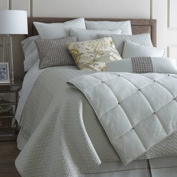 """Dransfield & Ross House - Dransfield & Ross House Elizabeth Street King Quilt, 110"""" x 96"""" - Elizabeth Street bed linens with French knot and rickrack accents come in Frost, Ivory, or Driftwood. Satin """"Vannerie"""" linens with """"basketwork"""" quilting are also offered in an array of hues. Select color when ordering. From Dransfield & Ross® House. Imported unless otherwise stated. Linen q"""