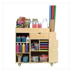 Guidecraft - Guidecraft Art Activity Cart - Guidecraft - Kids Bookcases - G98202 - The ultimate art cart! Features top tray with deep sides a pull-out drawer with ball-bearing casters center storage compartment with doors and ample space for art supplies paper and more. Side dividers hold tall paper rolls or sheets. Hand-hold cutouts for easy mobility. Birch construction heavy duty casters and steel hardware.