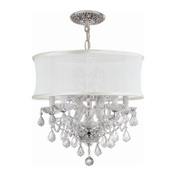 Crystorama - Crystal Chandelier Draped accented with White Silk Shade (Chrome) - Finish: Chrome.