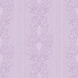 Wallpaper Worldwide - Kiera - Dramatic Damask Wallpaper, Purple - Material: Paper
