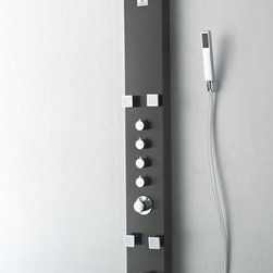 """Fresca - Fresca Pavia Stainless Steel (Brushed Gray) Thermostatic Shower Massage Panel - Showering may become your new favorite pastime with the Fresca Pavia Shower Massage Panel, part FSP8001BG. This H 59"""" x W 7"""" x D 18"""" thermostatic shower massage panel offers four separate swiveling massage jets with control knobs for each and a master control for temperature and water pressure. A large 7"""" shower head creates a wide shower, while a handheld attachment lets you direct spray where you need it. The moisture-resistant brass construction ensures longevity, while a warm brushed-gray finish and chrome knobs create a stylish appearance."""