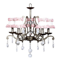 Elegance Chandelier in Pewter w/ Ring of Roses Shades - Stunning 5 arm pewter chandelier with pink ribbon roses on white chandelier shades.