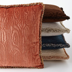 """SFERRA - Faux Bois Velvet Accent Pillow 18""""Sq. - CHOCOLATE (18"""") - SFERRAFaux Bois Velvet Accent Pillow 18""""Sq.DetailsBy Sferra.Select color when ordering.Acrylic/cotton/viscose with hidden zipper and variegated-color fringe.Feather/down insert.18""""Sq.Dry clean.Made in Italy.Designer About Sferra:The story of Sferra begins at the turn of the 19th century when Gennaro Sferra left Italy for the United States in the hopes of finding a market among the Atlantic Coast for his intricate Venetian lace cuffs and collars. By 1912 he and his family had opened up shop on famed Fifth Avenue in New York City. A generation later Gennaro's two sons expanded their family's collection to include the most luxurious European linens of the day from renowned double damask from Ireland to Alençon laces from France to elaborate embroideries from Belgium and Switzerland. In 1977 the ownership of Sferra was sold by the family to Paul Hooker under whose keen business savvy and passionate stewardship this classic brand has flourished over the years. With the aid of great advancements in design and production techniques Sferra has secured its rightful position as a leader in the luxury linens industry. Above all the secret to the enduring reputation of the Sferra brand is the same now as it was a century ago only the finest materials are used in any product bearing the Sferra name."""