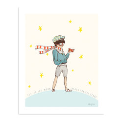 "Sarah Jane Studios - Reach for the Stars, 16""x20"" - This brave little boy aviator stands astride the world, a proud citizen of the cosmos. Sarah Jane's adorable print portrays a universe twinkling with possibility for any young dreamer."