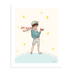Sarah Jane Studios - 'Reach for the Stars' Art Print - This brave little boy aviator stands astride the world, a proud citizen of the cosmos. Sarah Jane's adorable print portrays a universe twinkling with possibility for any young dreamer.