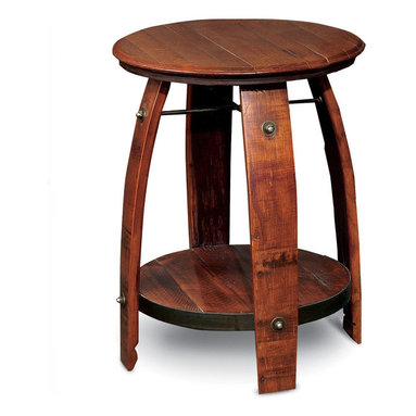 2 Day Designs - Barrel Side Table - Very unique, taller side table featuring a recycled wine barrel top and legs with wrought iron braces.  Has a full, rough sawn pine shelf.