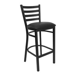 Flash Furniture - Flash Furniture Hercules Series Black Ladder Back Metal Restaurant Barstool - This heavy duty commercial metal bar stool is ideal for restaurants, hotels, bars, pool halls, lounges, and in the home. The lightweight design of the stool makes it easy to move around. The tubular foot rest not only supports your feet, but acts as an additional reinforcement that helps secure the legs. This stool will keep you comfortable with the easy to clean vinyl upholstered seat. You will not regret the purchase of this bar stool that is sure to complement any environment to fill the void in your decor. [XU-DG697BLAD-BAR-BLKV-GG]