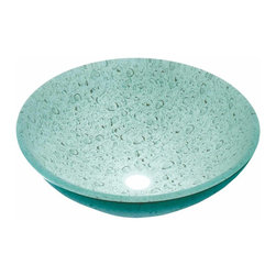 Renovators Supply - Vessel Sinks Gray/Green Glass Water Drop Painted Rnd Vessel Sink | 12873 - Glass Vessel Sinks: Single Layer Painted Tempered glass sinks are five times stronger than glass, 1/2 inch thick, withstand up to 350 F degrees, can resist moderate to high degrees of impact and are stain-proof. Ready to install this package includes FREE 100% solid brass chrome-plated pop-up drain, FREE machined 100% solid brass chrome-plated mounting ring and silicone gasket. Measures 16 1/2 inch diameter x 6 inch deep x 1/2 inch thick.
