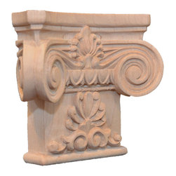 "Inviting Home - Regent Large Wood Capital - Red Oak - Regent capital in red oak hardwood; 4-3/4""H x 5-5/8""W x 1-3/4""D bottom: 3-3/4""W Wood capitals are hand carved in deep relief design from premium selected North American hardwoods such as alder beech cherry hard maple red oak and white oak. They are triple sanded and ready to accept stain or paint. Hardwood capitals are a great way to enhance any pilaster or column."