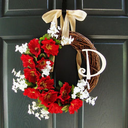 Red Poppy Monogram Wreath by HomeHearthGarden - An excellent door decoration red poppy wreath with monogram initial. Made with artificial poppy flowers and miniature artificial white flowers on a grapevine wreath.