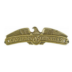 """Handcrafted Model Ships - Antique Brass Captains Quarters Sign 16"""" - Antique Brass Nautical Sign - Ideal for posting in a boat, boathouse or any room featuring a nautical decor theme, this brilliant antique brass sign clearly informs everyone what room it identifies. With a textured background and polished framing, this distinctive sign will be perfectly at home on you boat, or make you feel like you're on your boat when at home or the office."""