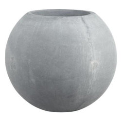 Large Ball Planter - Earth-friendly globe planter does a world of good, cast of naturally derived mineral compounds, sea salt, sand and fiber and manufactured with low emissions and minimal energy use. Grey-toned planter makes the rounds in a textured organic finish and can withstand all kinds of weather. Post-use this green-minded pot will biodegrade.