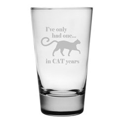 Susquehanna Glass - Cat Years Hiball Glass, 15.5oz, S/4 - Each 15.5 ounce tumbler is sand etched with a playful cat-themed design. Dishwasher safe. Sold as a set of four. Made and decorated in the USA.