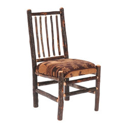 Fireside Lodge Furniture - Hickory Upholstered Spoke Back Side Chair (Co - Fabric: CowhideHickory Collection. All Hickory Logs are bark on and kiln dried to a specific moisture content. Clear coat catalyzed lacquer finish for extra durability. 2-Year limited warranty. 20 in. W x 23 in. D x 38 in. H (40 lbs.)