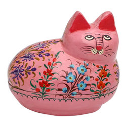 Souvnear Inc. - SouvNear Handmade Paper Mache Cute & Colorful Cat Figurine Easter Egg Box - * Here's a little gift for anyone with an attachment to their special feline. An adorable Kitty sitting peacefully on the lid with a serene look on its face