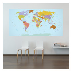 WallsNeedLove - Current World Map Wall Decal - Never fail geography again! Fall asleep every night looking at this geographically accurate wall decal map and by the time you wake up you'll know every river and lake and where they are in relation to every mountain range. (Results not typical. Please consult your geography teacher before attempting. Do not drive while studying. If you start to confuse Mississippi with Moldova seek attention immediately).