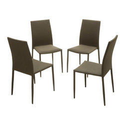 Great Deal Furniture - Baxley Dark Beige Fabric Dining Chairs (Set of 4) - The Baxley Dining Chairs offer a modern look with the unique twist of a steel tube frame. These sleek chairs can function as dining chairs or accent pieces and will compliment any decor in your home