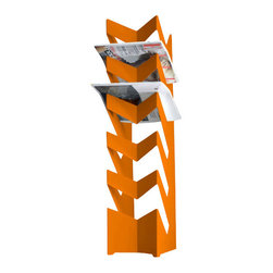 Radius Design - News Stand, Orange - The standing newspaper holder has space for up to 30 newspapers.