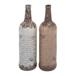 """Benzara - Lightweight Ceramic Vase with Easy Mounting and Sturdy Construction - Lightweight ceramic vase with easy mounting and sturdy construction. Add this rare and stylish set of ceramic vases to your decor. It comes with a dimension of 5"""" W x 5"""" D x 18"""" H. Some assembly may be required."""