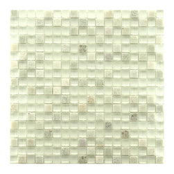 Somertile - SomerTile 12x12-in Reflections Mini 5/8-in Ming Glass/Stone Mosaic Tile (Pack of - The rich texture of this unique stone mosaic tile is the perfect complement to any wall or floor. The tile alternates between tumbled stone and glass for a look that will add a dynamic touch to a kitchen backsplash or a bathtub surround.
