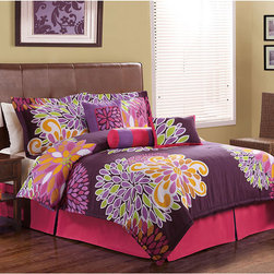 None - Flower Show 7-piece Comforter Set - Flower Show comforter sets are a bright printed design on brushed microfiber polyester. Sets include a comforter,shams,ruffle and pillows.