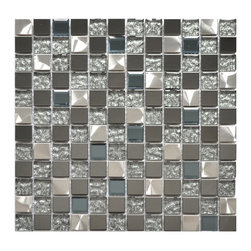 Eden Mosaic Tile - Silver Black And Royal Blue Mixed Glass And Metal Tile, Sheet - An incredibly unique modern metal tile mix. This mosaic is a mix of two types of stainless steel tile as well as two types of glass. The mirrored dark gray stainless steel is offset by the bright brushed finish of the silver colored metal. Like the popular EMT_501 tile, this mosaic features speckled silver glass tile which is complimented by a pale royal blue glass tile with chamfered diamond like edges. This tile is perfect for people that want a mix of glass and metal for their kitchen backsplash, accent wall or bathroom wall. The tiles in this sheet are mounted on a nylon mesh which allows for an easy installation.