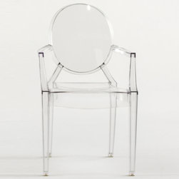 Kartell - Lou Lou Ghost Child's Armchair by Kartell - The Kartell Lou Lou Ghost Chair is the child-sized version of the iconic Louis Ghost Armchair. At only 25 inches tall, Lou Lou was designed by Philippe Starck with the same proportions, bright colors and structural integrity of the original, but on a petite scale suitable for children only. Founded in 1949 by Giulio and Anna Castelli, Kartell has become the world leader—and innovator—in the realm of molded plastic furniture. Headquartered in Italy, Kartell works with designers worldwide to create their distinctive line of modern furniture, lighting and accessories. Dedication to discovering and employing new technologies and manufacturing methods results in a growing line of durable, stylish and cutting edge products.