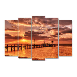 Ready2HangArt - Ready2hangart Bruce Bain 'Sunrise Pier' Canvas Wall Art - This beautiful canvas wall art is from photographer Bruce Bain. His work employs elements of imagination to capture a variety of subjects. It is fully finished, arriving ready to hang on the wall of your choice.