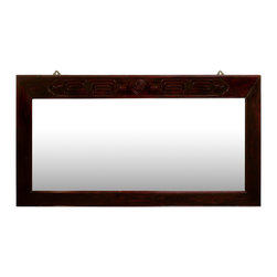 China Furniture and Arts - Elmwood Longevity Design Mirror - Beveled in Elmwood frame with a single elegant Longevity symbol hand-carved on the top, our classic rectangle mirror easily fits a variety of decorating styles. To hang in the bedroom, bathroom or hallway. Mounting brassware included. Hand applied rich dark cherry finish.