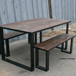 Dining Set made of Steel and Vintage Reclaimed Wood. Urban. Modern. Table, Chair -