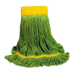 UNISAN - UNISAN EcoMop Looped-End Mop Head, Recycled Fibers, Medium Size, Green - Four-ply mop head with engineered fibers made entirely from recycled material. Absorbs more than four times its weight in water. Looped ends reduce unraveling, fraying and lint.